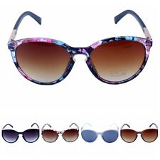 Womens Oversized Cat Eye Sunglasses Round Unisex Eyewear Metal Frame Vintage SDE