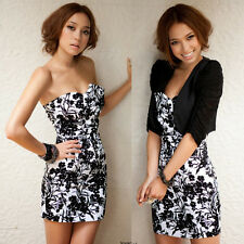 New Sexy Lady Floral Print Strapless Bowknot Deco Cocktail Party Club Mini Dress