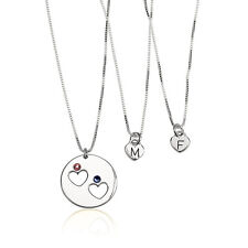 Silver Mother Daughter Necklace Set with Birthstones and Initials - oNecklace ®