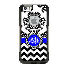 Monogram OtterBox Commuter for iPhone 5S 6 6S Plus White Blue Damask Chevron