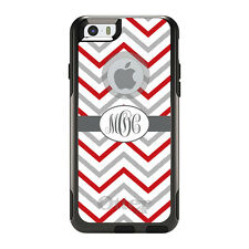Monogram OtterBox Commuter for iPhone 5S 6 6S Plus Red White Grey Chevron  s