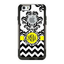 Monogram OtterBox Commuter for iPhone 5S 6 6S Plus Black Yellow Damask Chevron