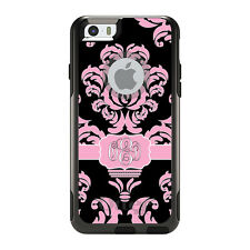 Monogram OtterBox Commuter for iPhone 5S 6 6S Plus Pink Black White Damask