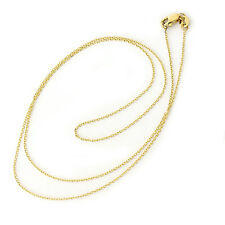 Solid 14k Yellow White/Rose Gold 0.9mm Cable Link Chain Necklace