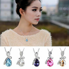 Fashion Teardrop Necklace Silver Plated Crystal Chain Charm Pendant Jewelry Gift
