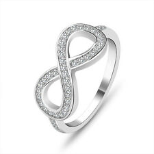 INFINITY LOVE 925 CZ STERLING SILVER ENGAGMENT RING WEDDING BAND SIZE 6-9 SS2052