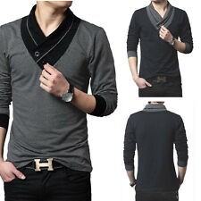 Fashion Casual Slim fit Solid color V-Neck Long-sleeved Mens T-shirt Tops Blouse
