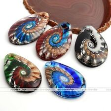 1x Murano Lampwork Glass Oval Teardrop Swirl Snail Pendant Fit Necklace Chain