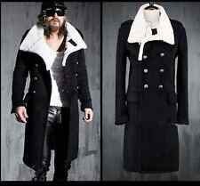 Fashion Mens Long Slim Double Breasted Punk Casual Winter Parka Overcoat Q1067