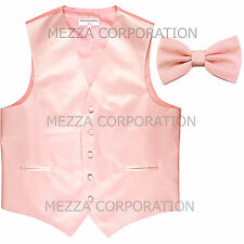 New Men's Vesuvio Napoli Tuxedo Vest Waistcoat Bowtie prom wedding party Pink