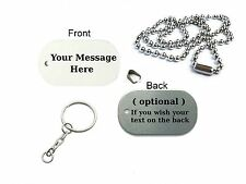 Custom Personalised Printed Text Oval Dog Tags Present Birthday Gift