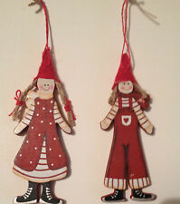 Nordic Girl and Boy Wooden Christmas Decorations Painted In Red and White