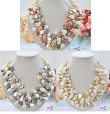 "D0005 4ROW 20"" 14MM COIN FRESHWATER PEARL CHAIN NECKLACE"