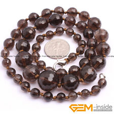 Handmade 6-14mm Graduated Faceted Round Beaded Necklace Jewelry 18-22 Inches