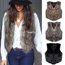Womens Faux Fur Waistcoat Short Vest Gilet Jacket Coat Sleeveless Outwear S0BZ