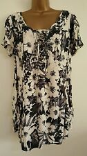 NEW Size 18 Black White Floral Print Casual Day Tunic Top Blouse