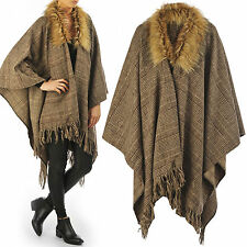 NEW WOMENS LADIES TWEED CHECK FUR COLLAR TASSEL HEM CAPE BLANKET SHAWL WRAPOVER