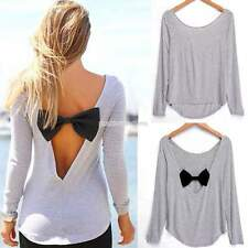Hot Fashion Women Sexy Bowknot loose Tops Casual Long Sleeve Blouse T-Shirts Tee