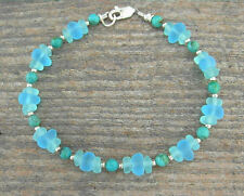 'Sea Glass' & Turquoise Anklet - Natural Stone and Aqua Frosted Beach Glass