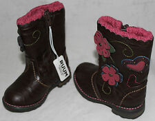 Ruum Girls Toddler Brown Pink Flower Cowboy Fashion Boots Shoes sz 5 6 7 NWT