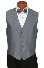 Large Mens Pewter Herringbone Wedding Party Prom Fullback Tuxedo Vest Formal