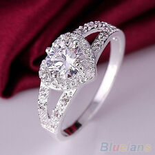 Beauteous Silver Plated Crystal Love Heart Ring Bridal Wedding Party