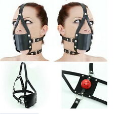 Adult Sex Head Hood Mouth Mask Cosplay SM Fetish Restraint Bondage Ball Gag XD