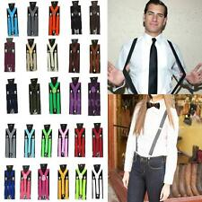 Men Womens Elastic Clip-on Solid Color Y-Shape Adjustable Braces Suspenders 4UH3