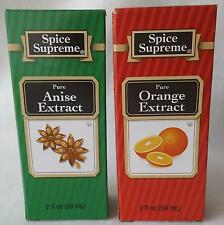 Lot of 2 Spice Supreme PURE ANISE Extract and/or PURE ORANGE Extract 2oz Bottles