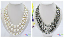 """D0025 3row 20"""" 16mm white&black round SOUTH SEA SHELL PEARL TOWER NECKLACE"""