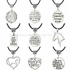 Leather Cord Choker Charm Necklace Horse Heart Mother Grandmother Pendant Gifts