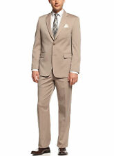Jones NY Classic Fit Solid Tan Two Button Worsted Wool Suit With Pleated Pants