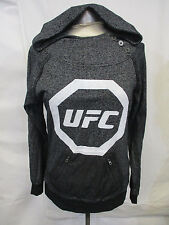 UFC Women Mediun Black Blend Button Hoodie w/ Silver UFC Logo Flawed MMA A9MRB