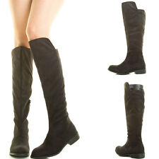Black Faux Suede Mid Calf Tall Knee High Womens Riding Motorcycle Combat Boot US