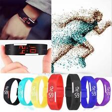 Mens Womens Watches Rubber LED Watch Date Sports Bracelet Digital Wrist Watch TR