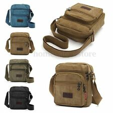 Men Vintage Canvas Leather School Shoulder Bag Satchel Military Messenger Retro