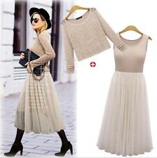 Women's Ladies Knit Long Sleeves Two Pieces 2 IN 1 Long Gauze Dresses Size 14-22