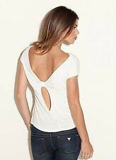 NWT GUESS $59 Melissa Open back beaded Top Blouse Off White L 8 9