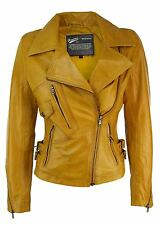 Ladies Real Leather Jacket Short Fitted Bikers Style Vintage Yellow Brown Rock