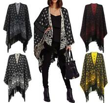 New Womens Ladies Aztec Tassels Knitted Reversible Shawl Poncho Cardigan Cape