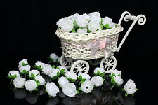 50-1000X Roses Artificial Silk Flower Heads Wholesale Lots Wedding decor (White)