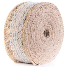 HUJI 10yd Jute Burlap with Lace Ribbon for Crafts Rustic Wedding Decorations