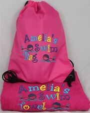PERSONALISED SWIM BAG & TOWEL SET - GIRL SWIMMING DESIGN - CHOICE OF COLOURS.
