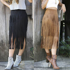 Ladies Vintage Tassel High Waist Well Matched Fringed Wiggle Suede Midi Skirts