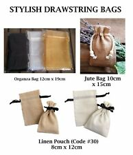 Mini Small Drawstring Linen Cotton Bag Jewellry Pouch Wedding Gift Favour Bags