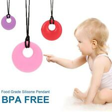 Silicone Teething Donut Ring Necklace Mum Baby Chew Safe Jewellery Sensory I5D6