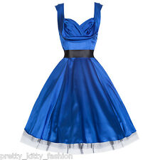 PRETTY KITTY ROCKABILLY BLUE VINTAGE SATIN SWING PARTY COCKTAIL PROM DRESS 8-18