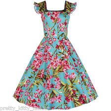 Pretty Kitty Turquoise Pink Floral Print Cotton 50s Rockabilly Swing Dress 8-18