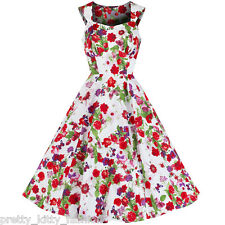 Pretty Kitty White Floral Butterfly Print Cotton 50s Rockabilly Swing Dress 8-18