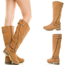 Tan Cognac Slouchy Shaft Zipper Buckle Accent Mid Calf Knee Riding Women Boot US